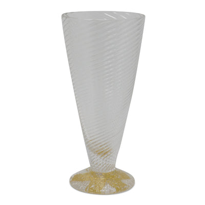 Blown Glass Wine Cup with Gold Accents