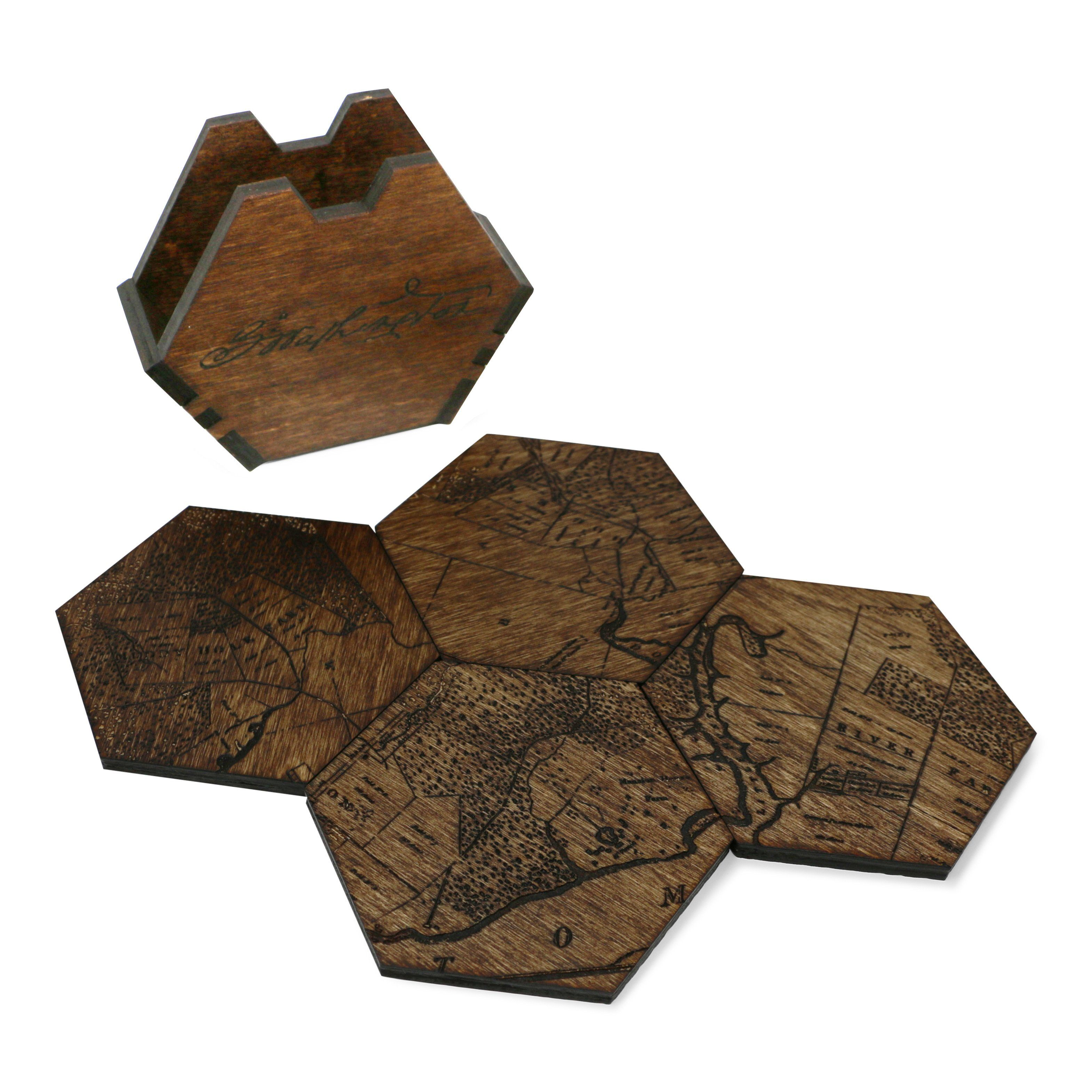 5 Farms Wood Coaster Set