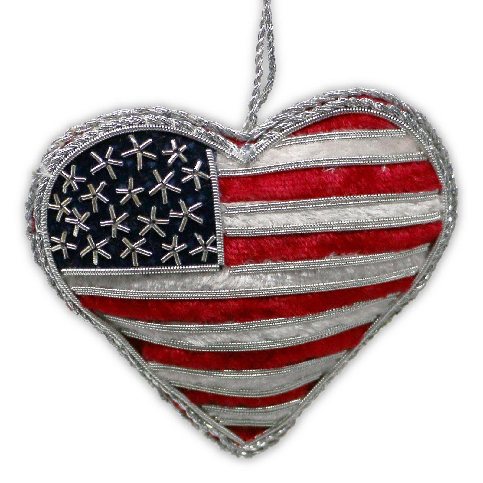 Embroidered USA Flag Heart Ornament