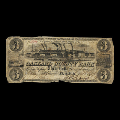 Oakland County Bank Three Dollar Bill