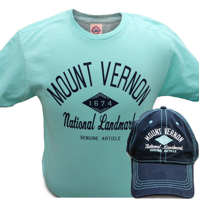 Mount Vernon Mint and Navy T-Shirt & Cap Combo - The Shops at Mount Vernon - The Shops at Mount Vernon