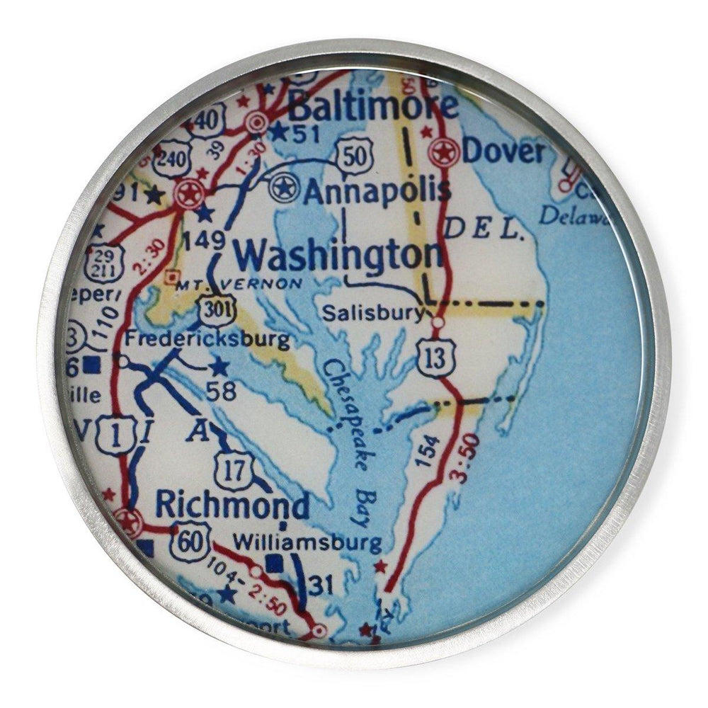 Mount Vernon Map Wine Bottle Coaster - Chart Metalworks - The Shops at Mount Vernon