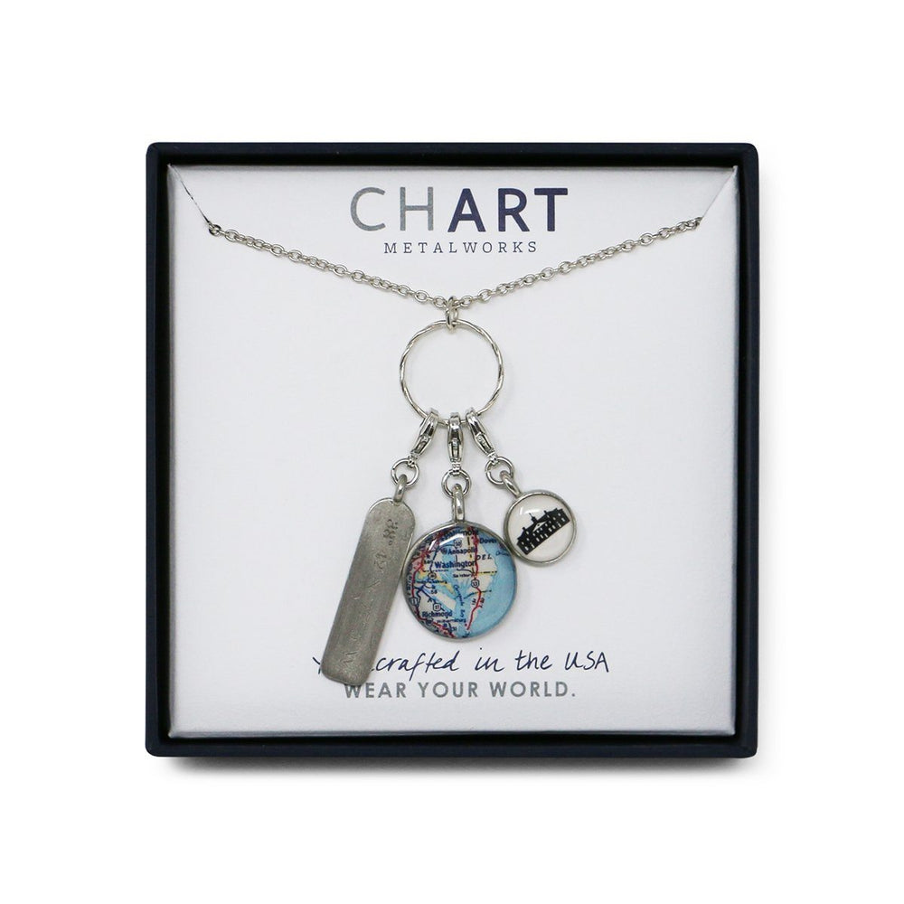 Three Charm Mount Vernon Map Necklace - Chart Metalworks - The Shops at Mount Vernon