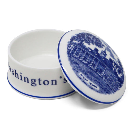 Blue Staffordshire Lidded Porcelain Box - The Shops at Mount Vernon - The Shops at Mount Vernon