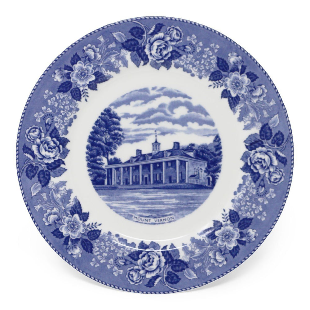 "Blue Staffordshire Mount Vernon Porcelain 10"" Plate - 31 - The Shops at Mount Vernon"