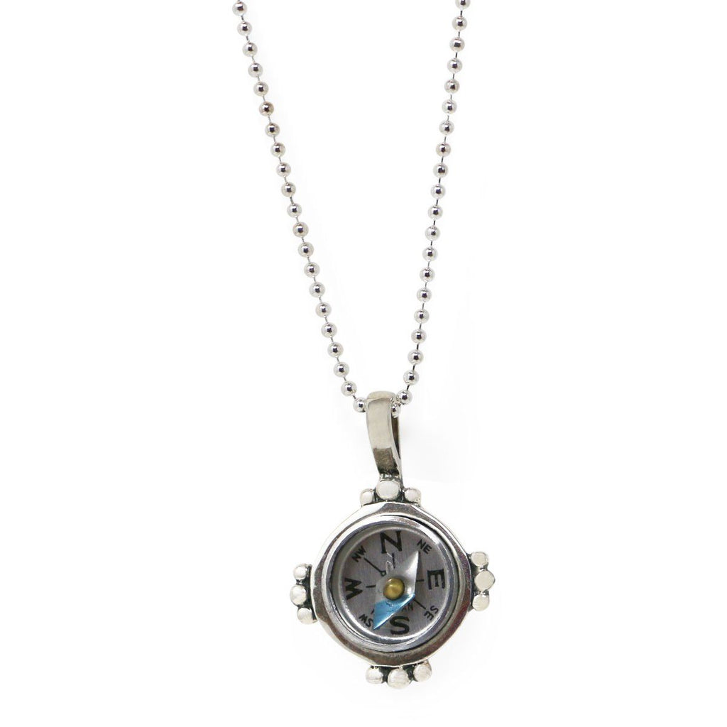 "Sterling Silver ""Find Your Way"" Compass Necklace"