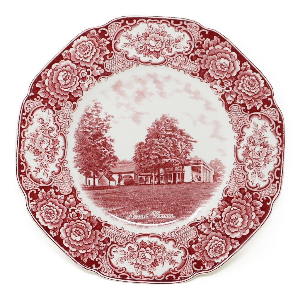 Cranberry Staffordshire Crown Ducal Mount Vernon Plate