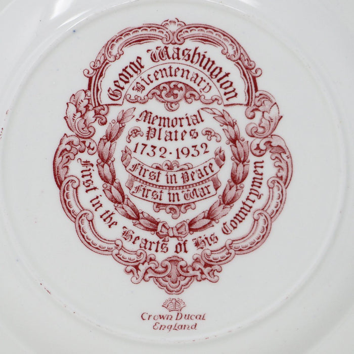 Cranberry Staffordshire Crown Ducal Mount Vernon Plate - THE ANTIQUE GUILD - The Shops at Mount Vernon