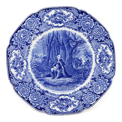 Blue Staffordshire Crown Ducal Valley Forge Plate