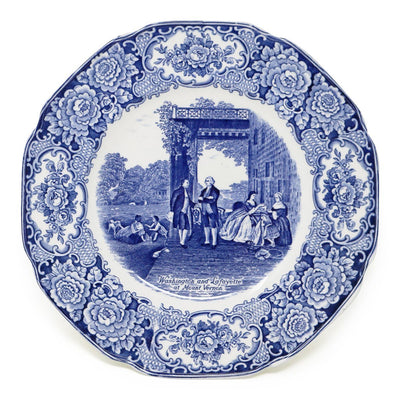 Blue Staffordshire Crown Ducal Washington & Lafayette Plate