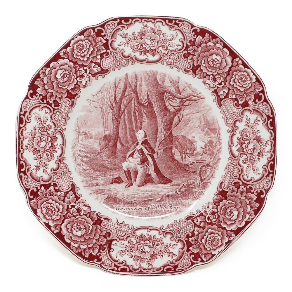 Cranberry Staffordshire Crown Ducal Valley Forge Plate - THE ANTIQUE GUILD - The Shops at Mount Vernon