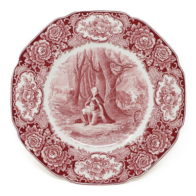Cranberry Staffordshire Crown Ducal Valley Forge Plate