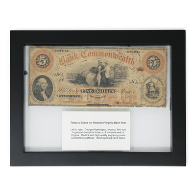 Framed Circa 1857 Virginia Bank Note