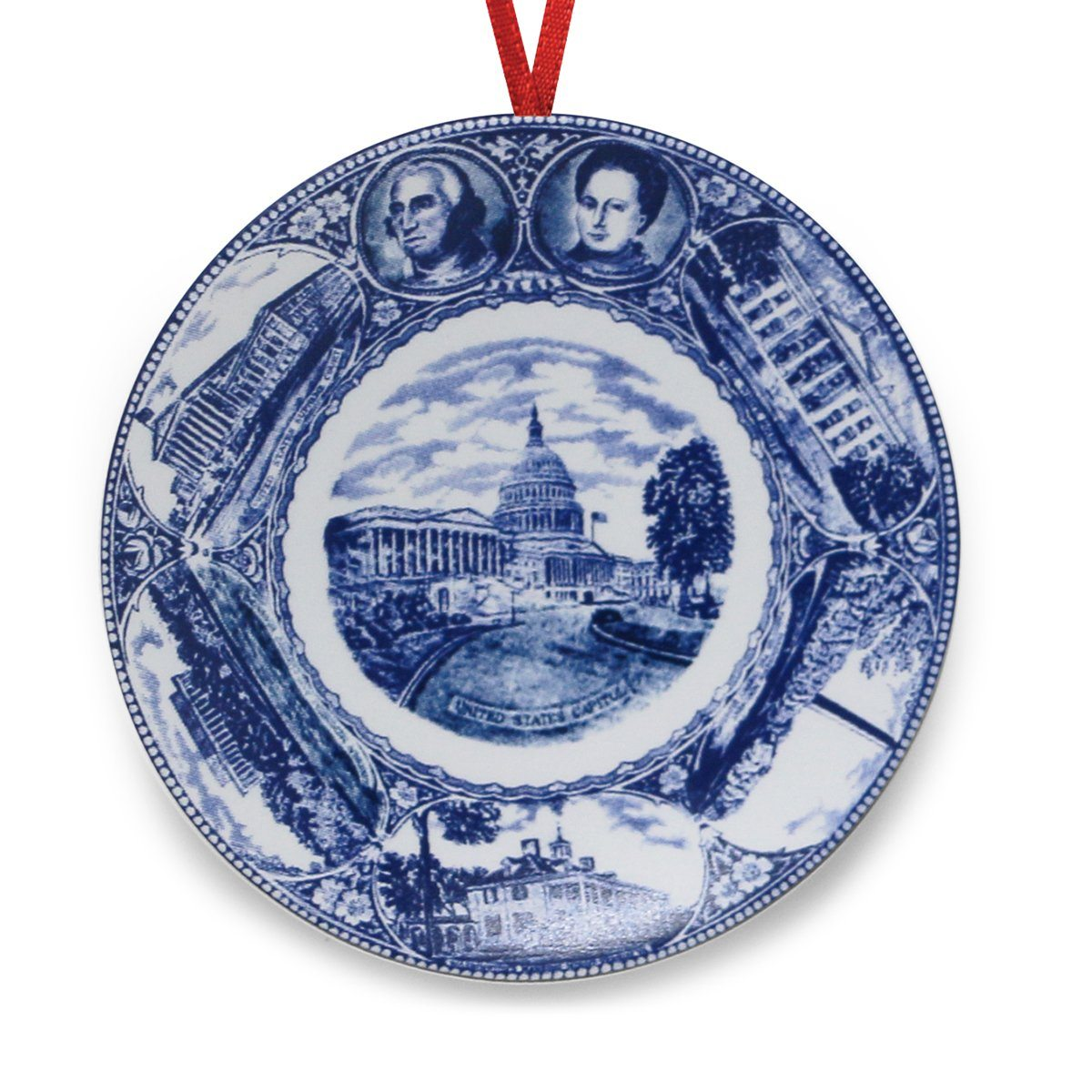 Washington DC Blue Staffordshire Plate Ornament