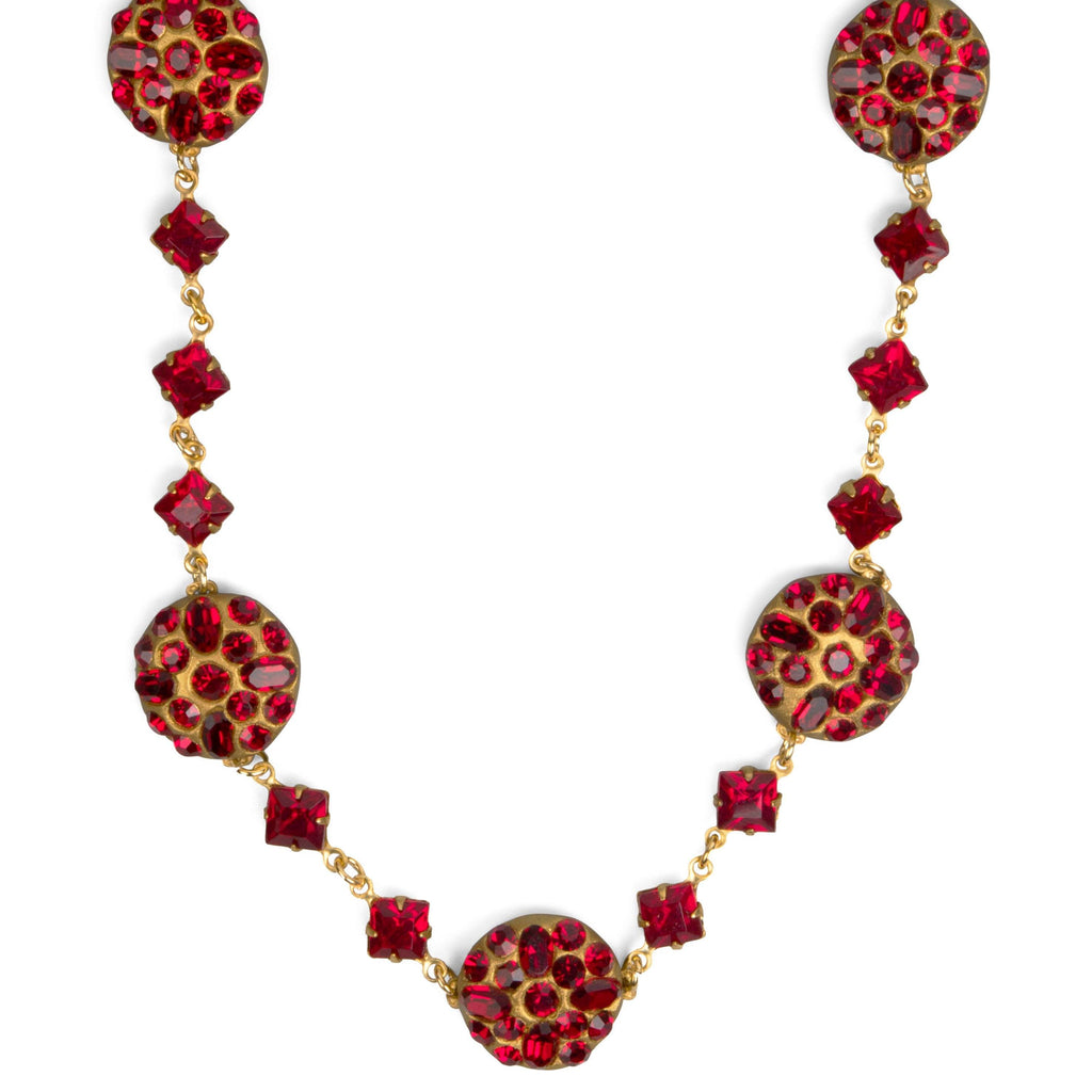 Martha Washington Garnet-Colored Crystal Necklace