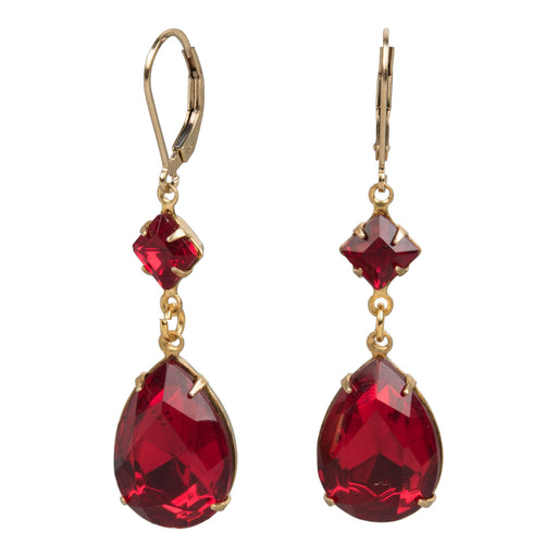 Garnet-Colored Crystal Earrings - The Shops at Mount Vernon - The Shops at Mount Vernon