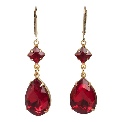 Garnet-Colored Crystal Earrings