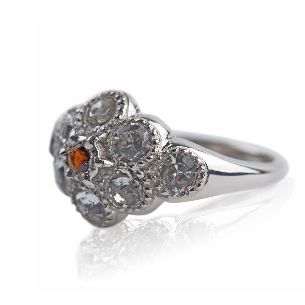 Martha Washington Crystal Ring with Garnet