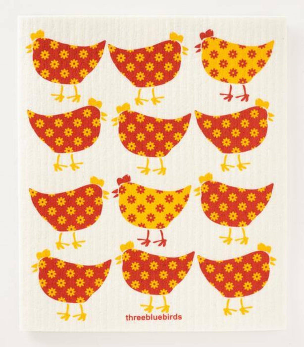 Yellow Chickens Dishcloth - THREE BLUEBIRDS - The Shops at Mount Vernon