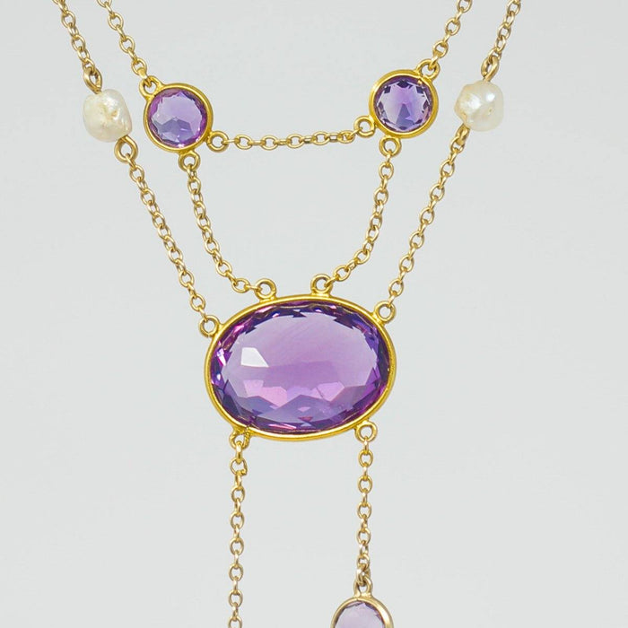 Amethyst and Pearl Necklace - THE ANTIQUE GUILD - The Shops at Mount Vernon