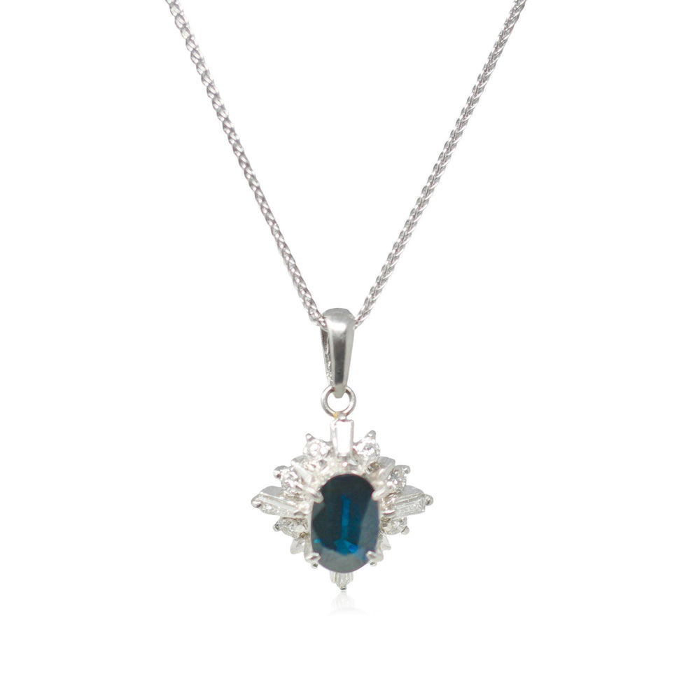 Blue Sapphire and Diamond Necklace - THE ANTIQUE GUILD - The Shops at Mount Vernon