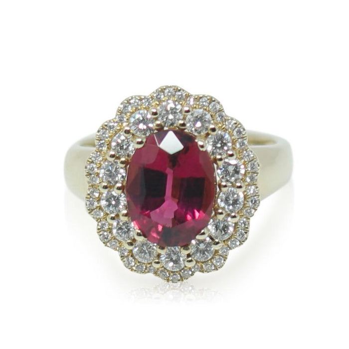 Rubellite Tourmaline and Diamond Ring - THE ANTIQUE GUILD - The Shops at Mount Vernon