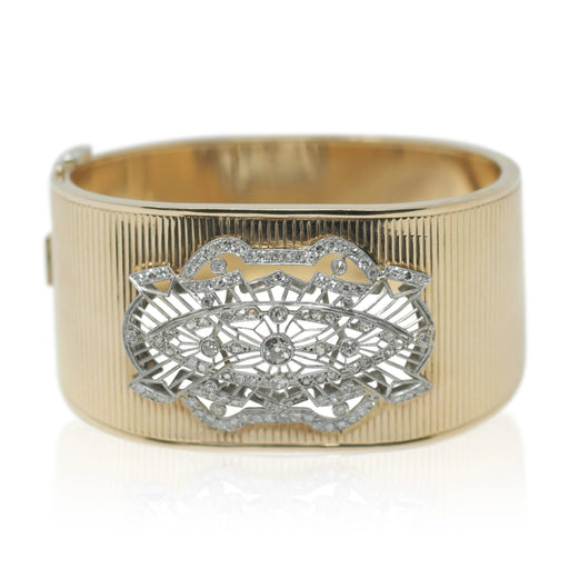 Diamond, Gold & Platinum Antique Cuff Bracelet - THE ANTIQUE GUILD - The Shops at Mount Vernon