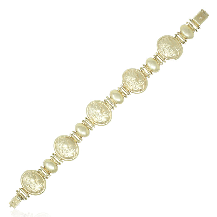 Gold Cameo Link Bracelet - THE ANTIQUE GUILD - The Shops at Mount Vernon