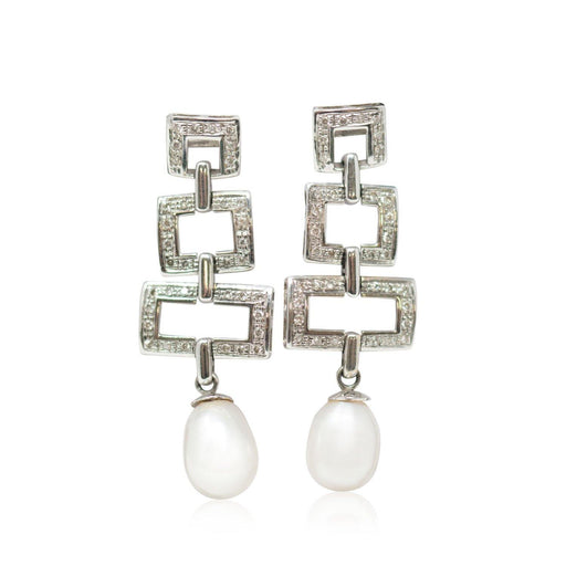 White and Gold Diamond Drop Earrings - THE ANTIQUE GUILD - The Shops at Mount Vernon