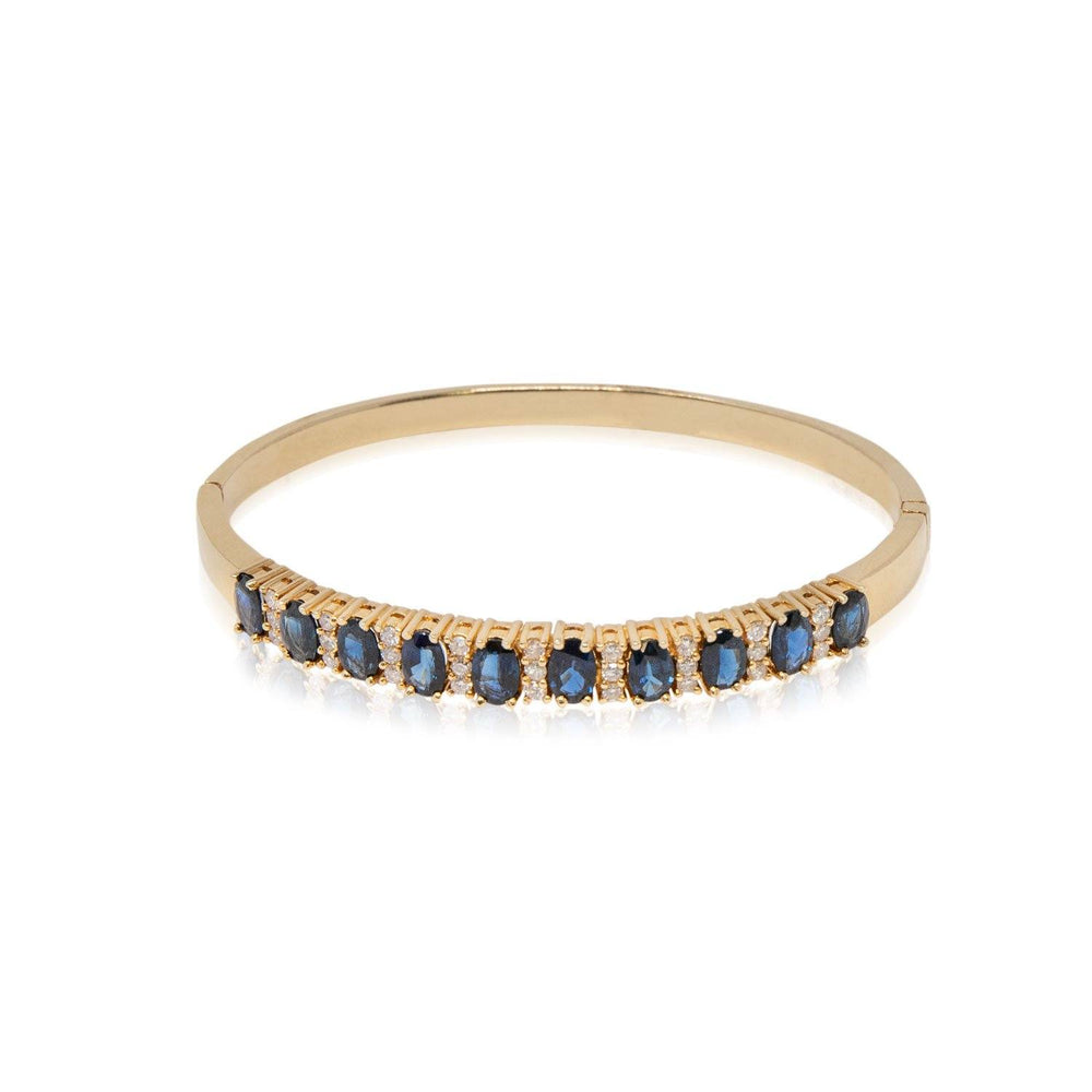 Sapphire and Diamond Hinged Bangle Bracelet - THE ANTIQUE GUILD - The Shops at Mount Vernon