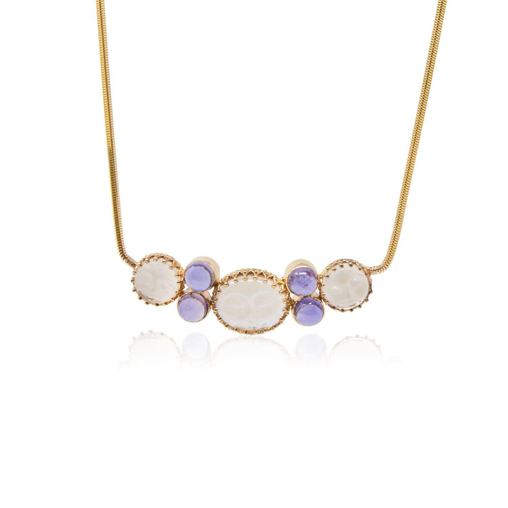 Gold Moonstone Iolite Necklace - THE ANTIQUE GUILD - The Shops at Mount Vernon