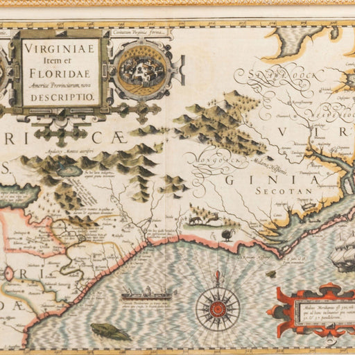Mercator Hondius Map of Virginia and the Southeast - Rick Badwey-Frameabilia - The Shops at Mount Vernon