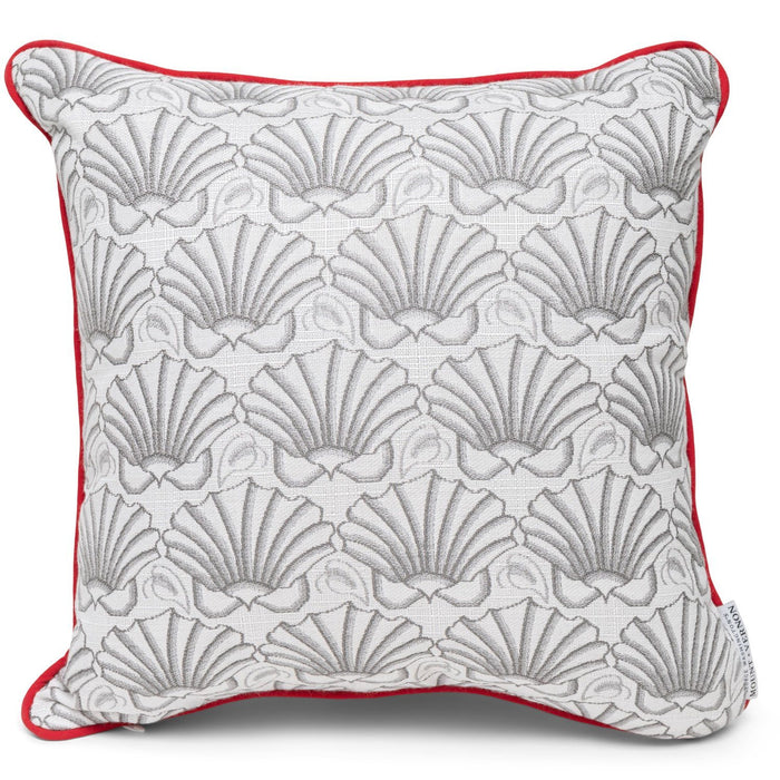 Martha's Shell Dove Gray with Jockey Red-Welt Pillows - Three Coins Cast - The Shops at Mount Vernon