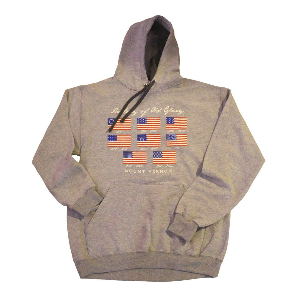 Old Glory Gray Hooded Sweatshirt - PLANET COTTON - The Shops at Mount Vernon