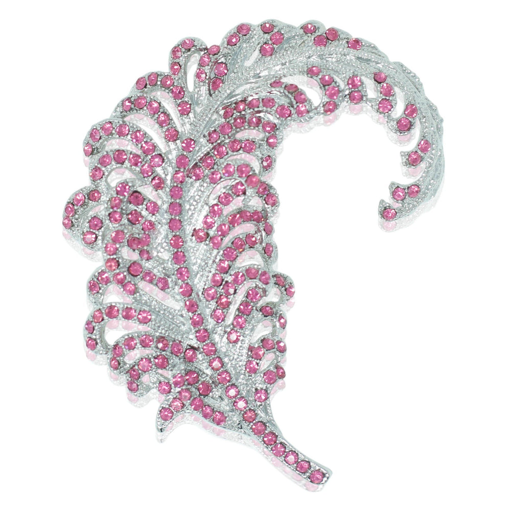 Feather Brooch - Silver and Pink Crystal - At the Sign of the Gray Horse - The Shops at Mount Vernon