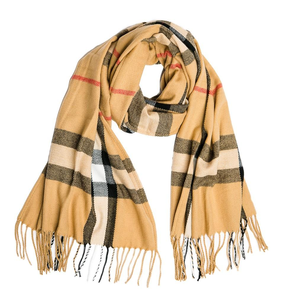 Camel Plaid Scarf - TOP IT OFF - The Shops at Mount Vernon