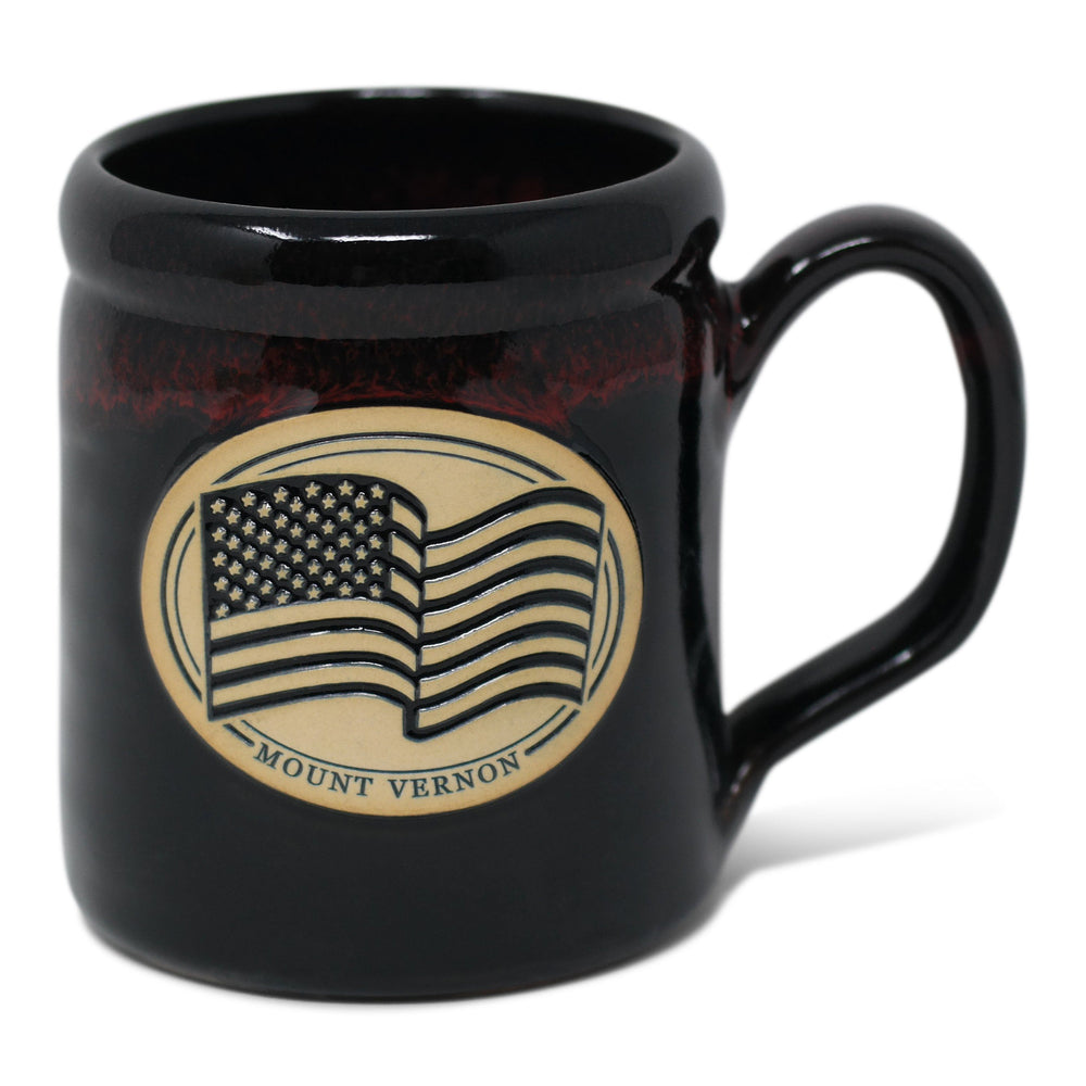 Mount Vernon US Flag Mug in Dark Brown - DENEEN POTTERY - The Shops at Mount Vernon
