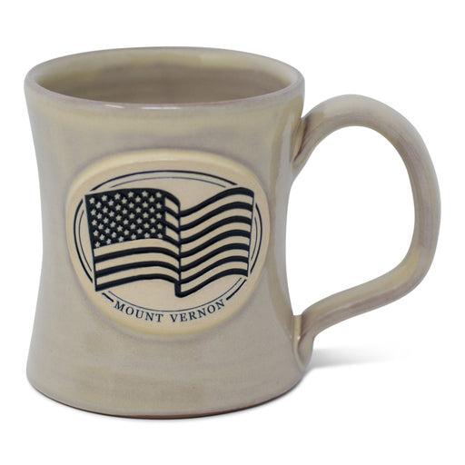 Mount Vernon US Flag Pottery Mug in Buttercream - DENEEN POTTERY - The Shops at Mount Vernon