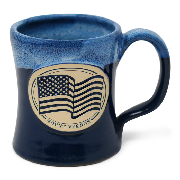 Mount Vernon US Flag Pottery Mug in Blue - DENEEN POTTERY - The Shops at Mount Vernon