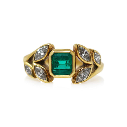 Emerald and Diamond Ring - THE ANTIQUE GUILD - The Shops at Mount Vernon