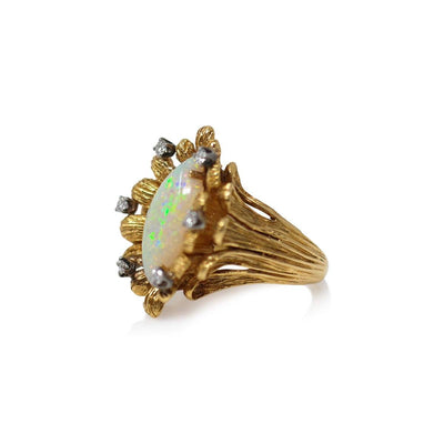 Opal and Diamond Flower Petal Ring