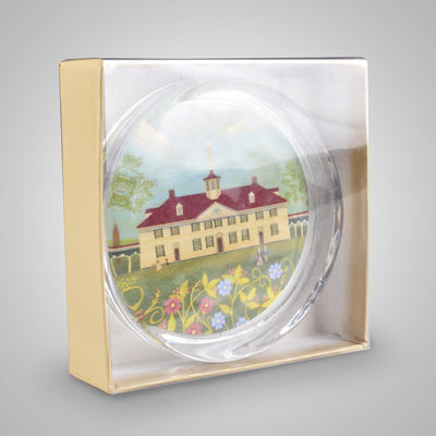 Mount Vernon Folk Art Glass Paperweight