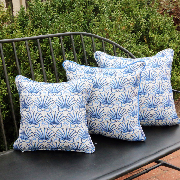 Martha's Shell Blue with Blue-Welt Pillows - Three Coins Cast - The Shops at Mount Vernon