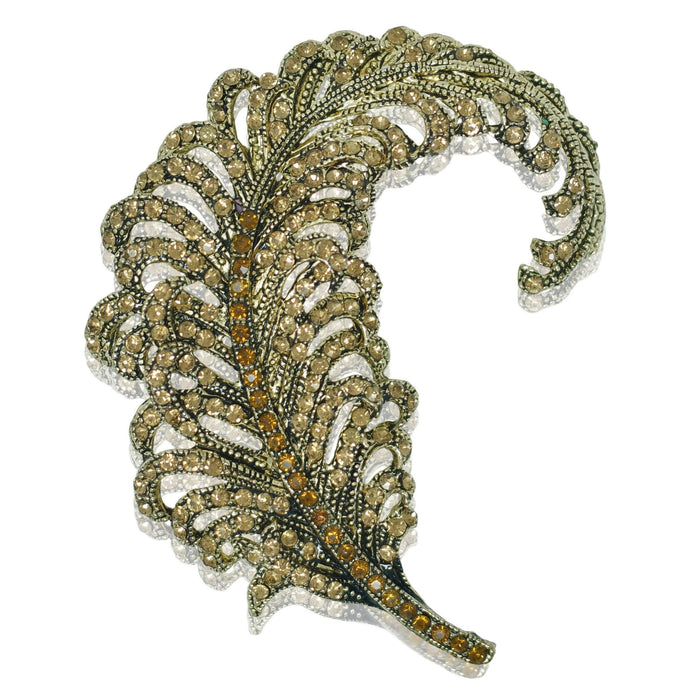 Feather Brooch - Gold and Topaz Crystal - At the Sign of the Gray Horse - The Shops at Mount Vernon