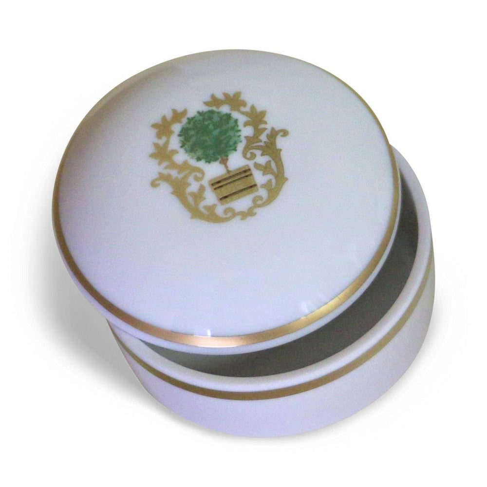 Charlotte Moss Small White Round Topiary Covered Box - Pickard China - The Shops at Mount Vernon