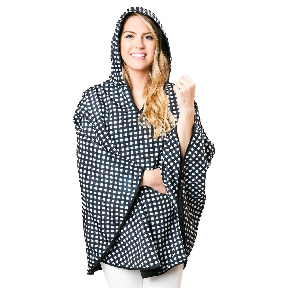 Black & White Check Poncho - TOP IT OFF - The Shops at Mount Vernon