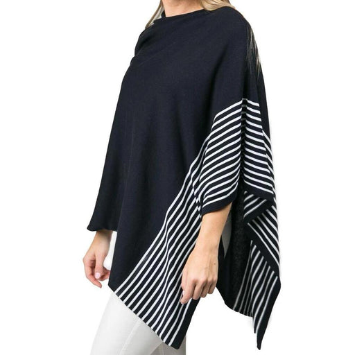 Navy Cotton Stripe Poncho - TOP IT OFF - The Shops at Mount Vernon