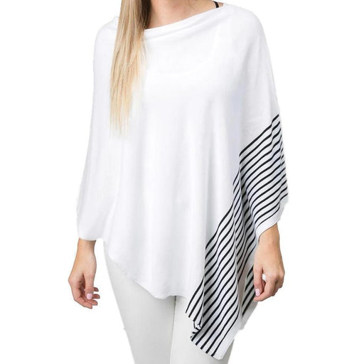 White Cotton Stripe Poncho - TOP IT OFF - The Shops at Mount Vernon