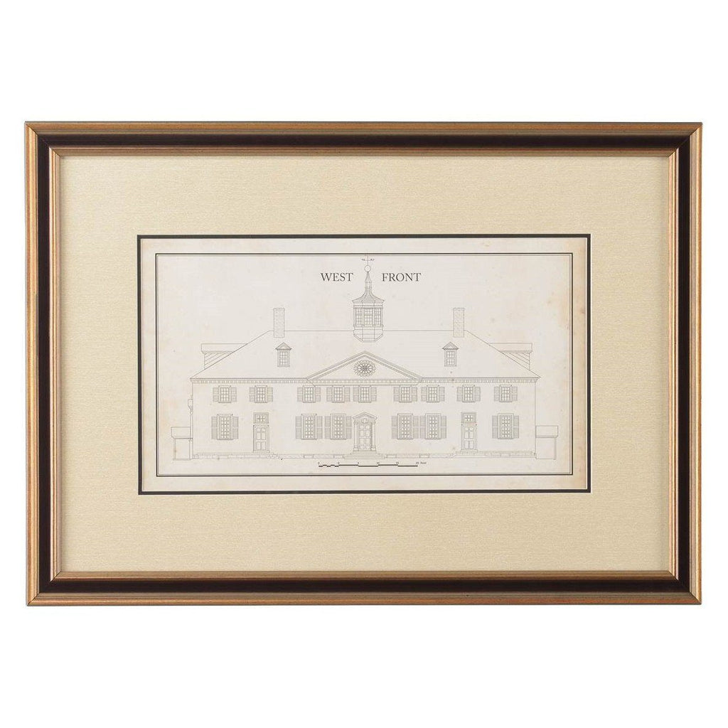 Mount Vernon West Front Measured Drawing Print