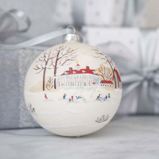 Winter Wonderland Mount Vernon Glass Ball Ornament - A PRESIDENTAL CHRISTMAS - The Shops at Mount Vernon
